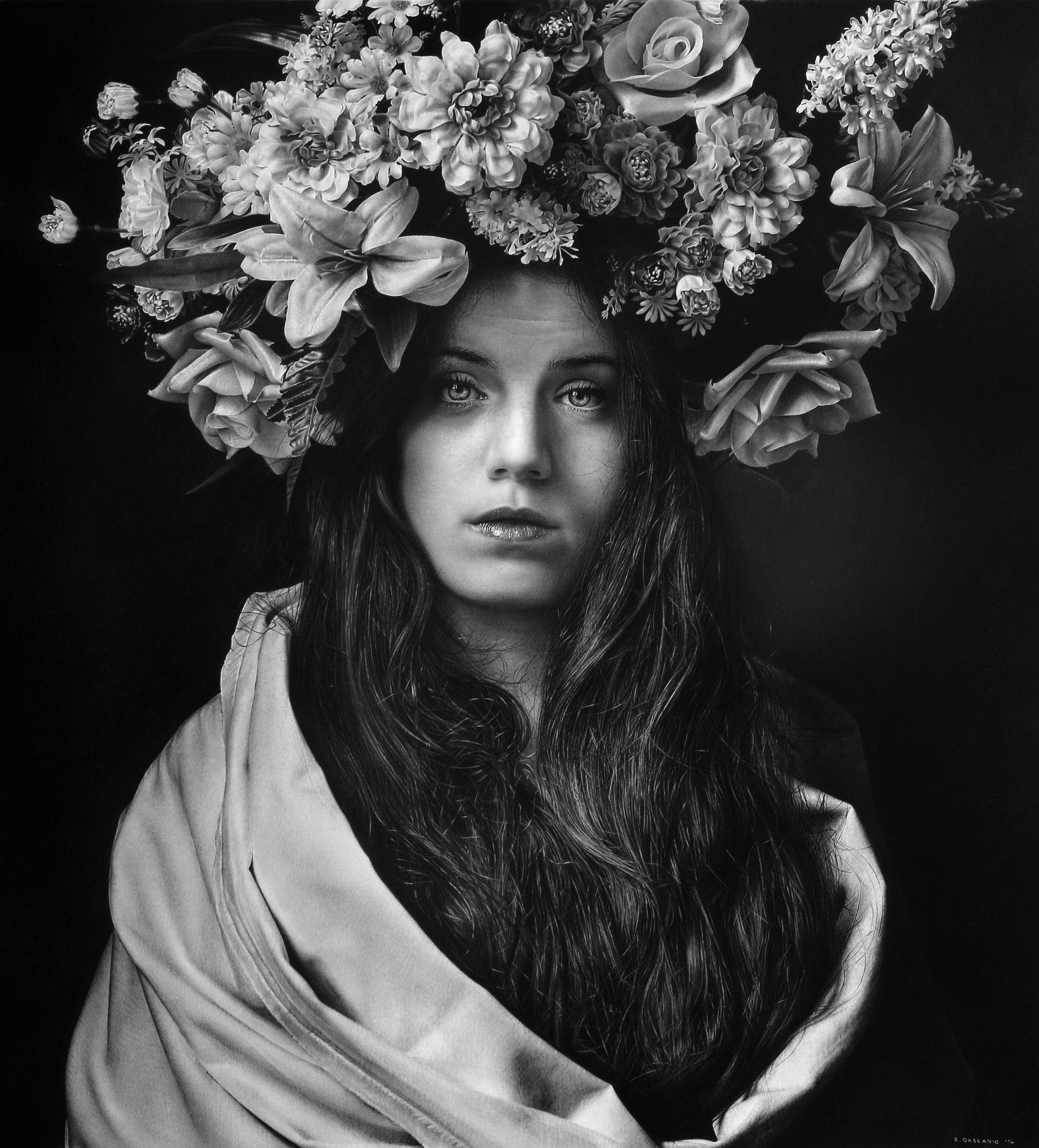 """This artwork is a drawing in fine art, drawing with renassaince technique, size 90 x 63 cm and made in 2013. , an artwork hyperrealistic or fine art made by Emanuele Dascanio. Emanuele Dascanio make aalso workshop and masterclass, he teach drawing, how to draw, he expose in all over the world. Emanuele Dascanio is a master of contemporary art and he exposed in all museums and private collections of art. The title of this artwork is Work in progress of drawing Work in progress """"Libertas ?"""" - Charcoal and graphite on paper - 78 x 70 cm 2014"""
