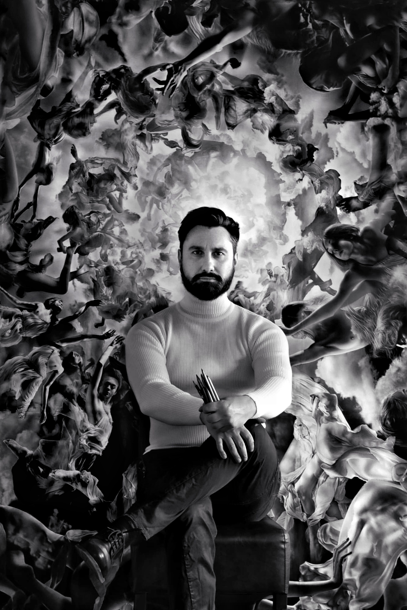Emanuele Dascanio in front oh his drawing 250 x 250 cm The Natura Universi - This artwork is a drawing in fine art, drawing with renassaince technique, size 90 x 63 cm and made in 2013. , an artwork hyperrealistic or fine art made by Emanuele Dascanio. Emanuele Dascanio make aalso workshop and masterclass, he teach drawing, how to draw, he expose in all over the world. Emanuele Dascanio is a master of contemporary art and he exposed in all museums and private collections of art.